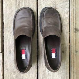 tommy hilfiger dark brown chunky heels
